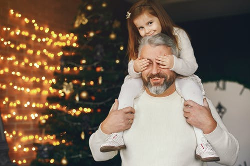 Cute Girl Riding Her Dad's Shoulder