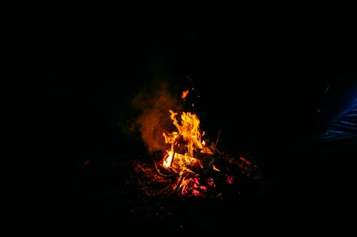 Majestic flames of bonfire at night