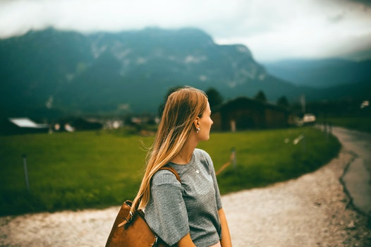 Free stock photo of road, mountains, woman, field