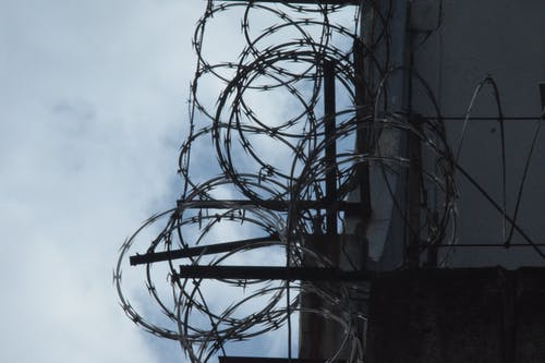 Free stock photo of barbed wires, building, city, security