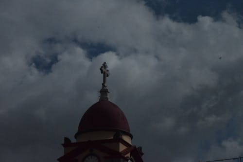 Free stock photo of church, clouds, cross, shadow