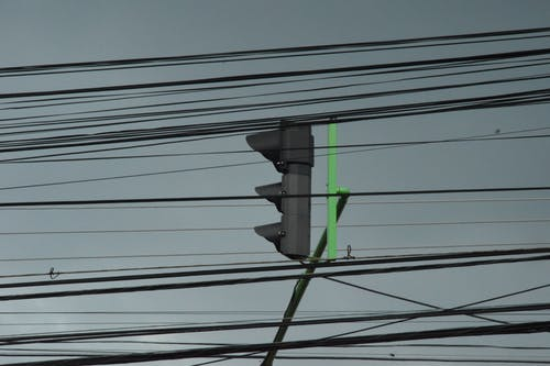 Free stock photo of cable lines, sky, traffic light