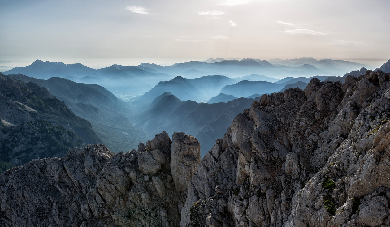 Bird's-eye View Photography of Mountains