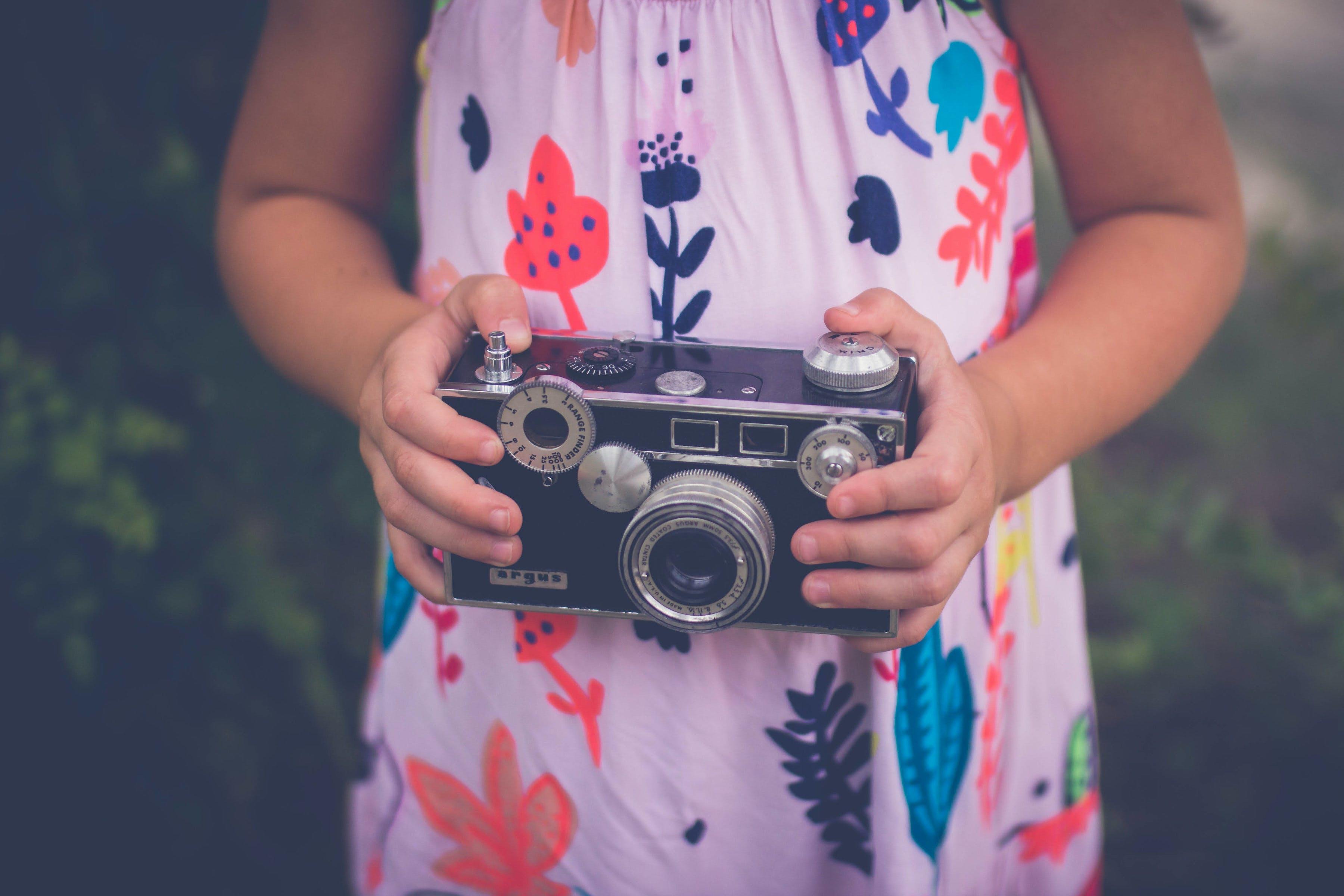 Free stock photo of camera, girl, dress, pink