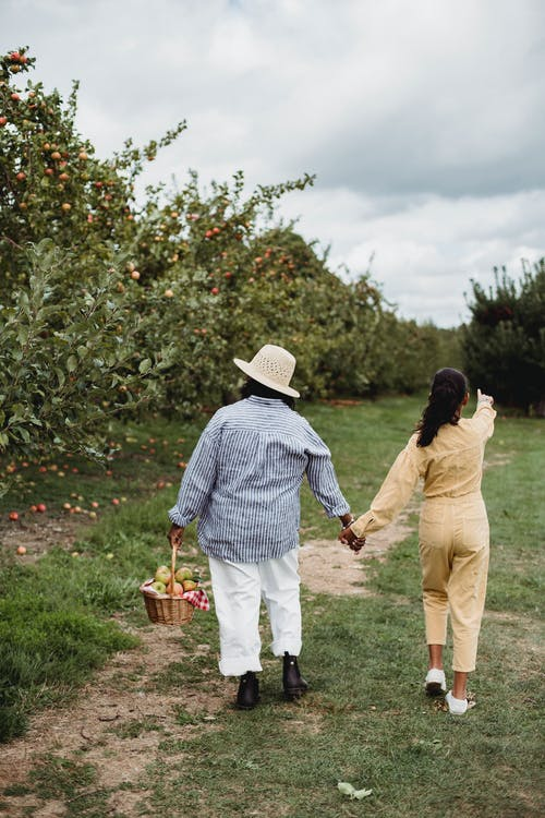 Woman and girl walking with basket of apples in garden