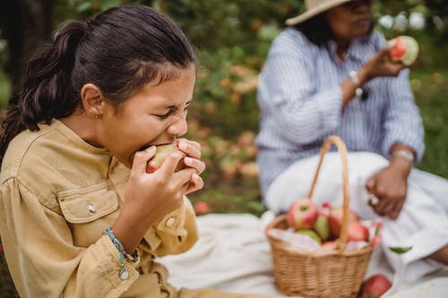 Ethnic girl biting apple during picnic with mother