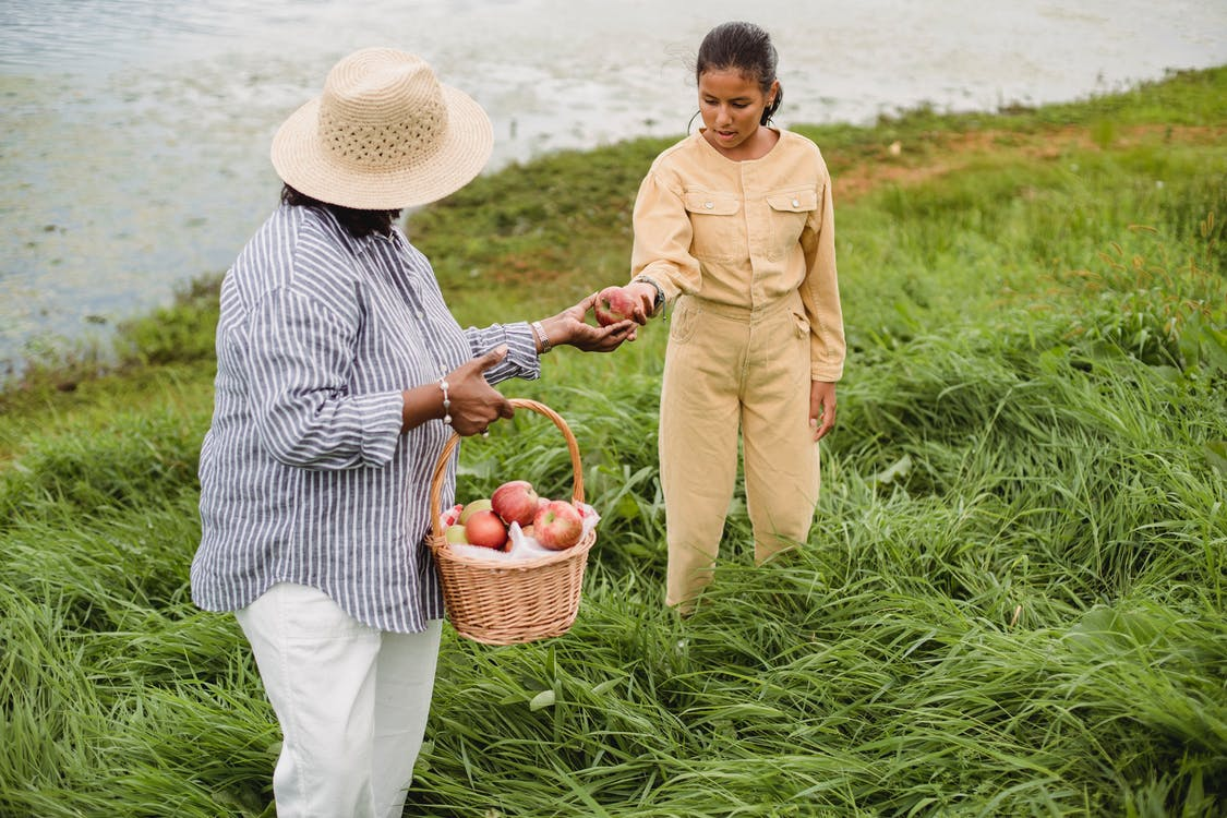 Unrecognizable ethnic woman carrying wicker basket with apple harvest and giving fresh fruit to girl standing in high grass near lake