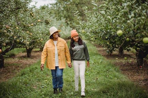 在蘋果樹之間的路徑上行走的微笑族裔農民