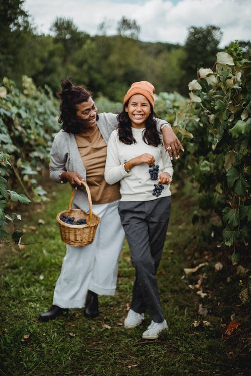 Cheerful ethnic gardener with daughter on path in vineyard