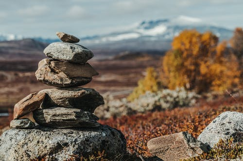 Stack of stones in dry valley