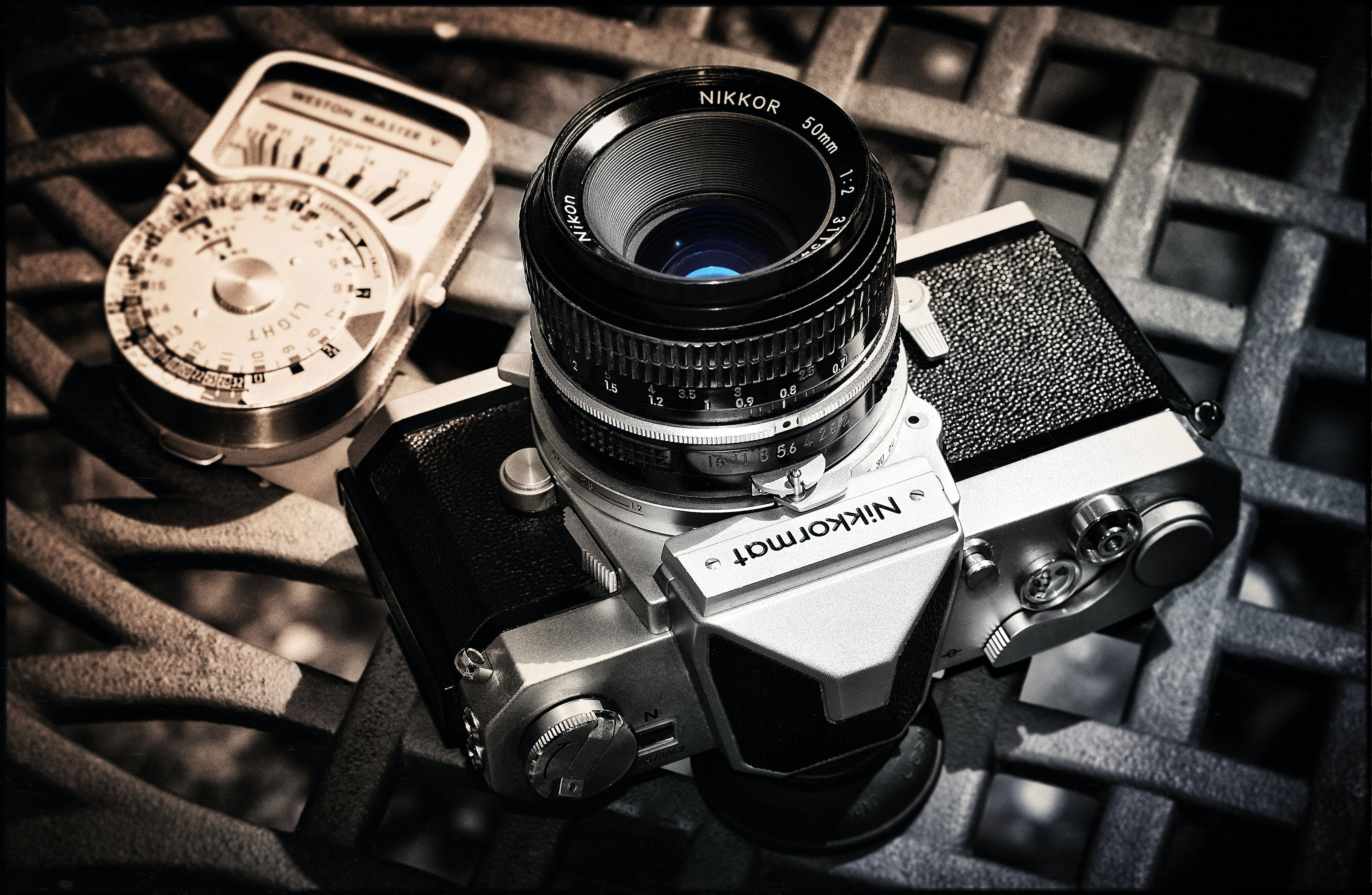 Black and Gray Nikkormat Mirrorless Camera
