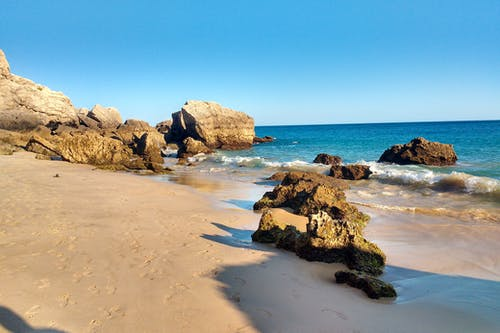 Free stock photo of beach, clear sky, ocean, rocks