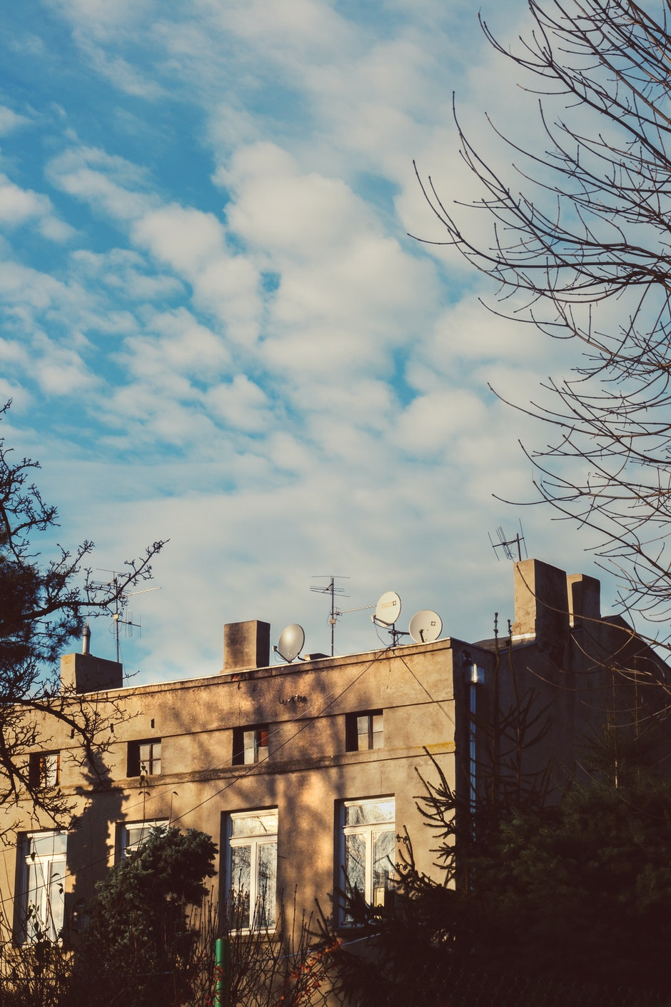 Tenement house & blue sky