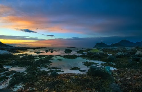Rocky Shore Under Blue Sky during Sunset