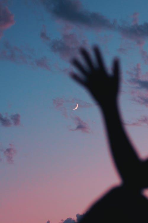 Základová fotografie zdarma na téma červánky, měsíc, měsíční pozadí