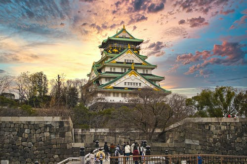 Osaka Castle Museum During Sunset in Autumn
