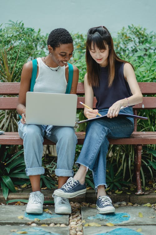 Full length content multiethnic female students in casual outfits browsing netbook and writing in workbook while preparing project together on bench in summer garden