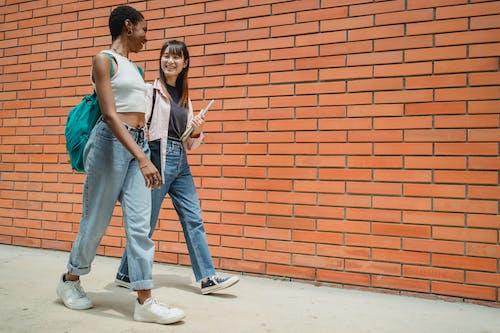 Birlikte Yürüyen Mutlu çok ırklı öğrenciler