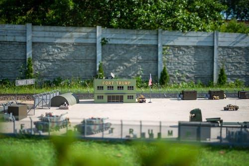 Model of military base in backyard