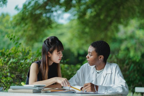 Focused multiracial female students in casual clothes sitting at table with textbooks and copybooks and discussing home assignment together while studying in lush summer garden