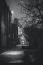 black-and-white, city, night