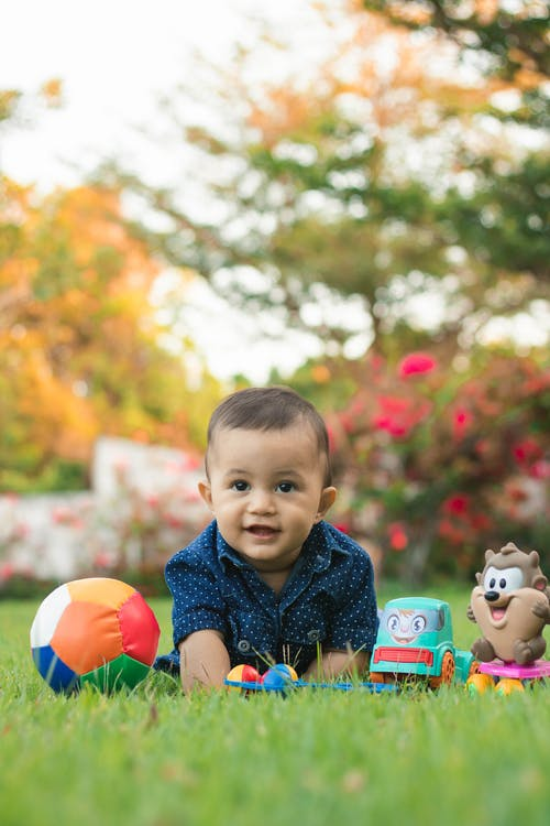 Full body smiling toddler boy sitting on grassy lawn in autumn garden near colorful toys and looking at camera