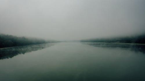 Serene river between trees under foggy sky
