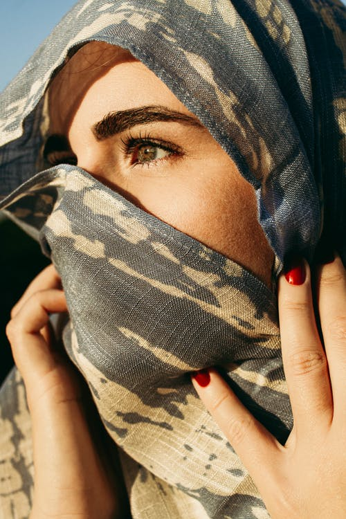 Anonymous woman covering face with headscarf