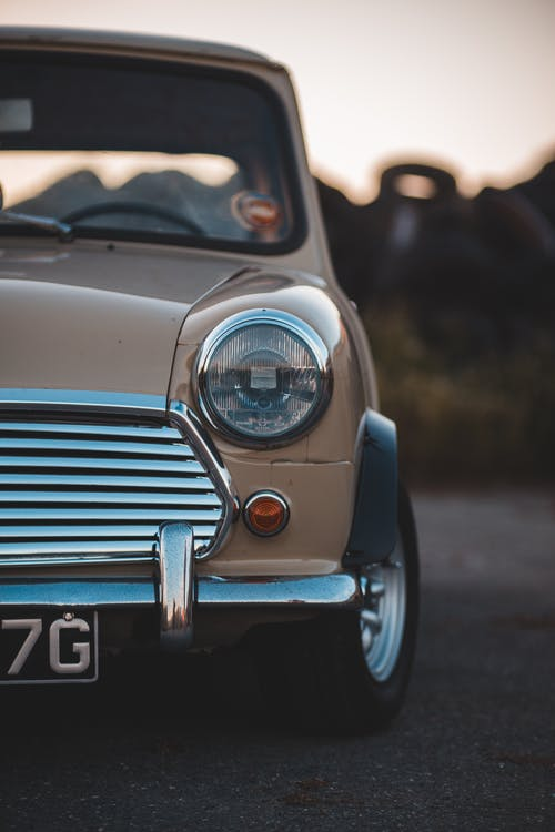 Stylish retro car on road
