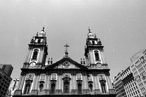 Facade of Catholic church in city