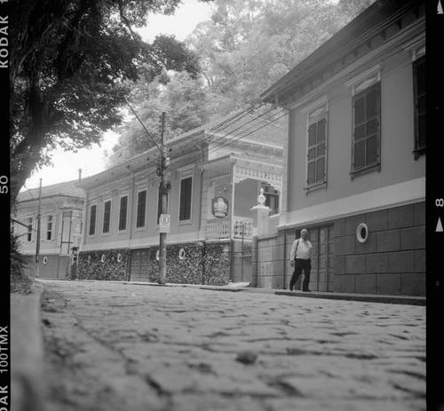 Cobblestone street with aged buildings