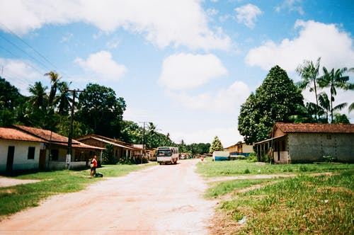 Street in small tropical village