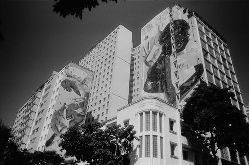 Tall residential building with graffiti