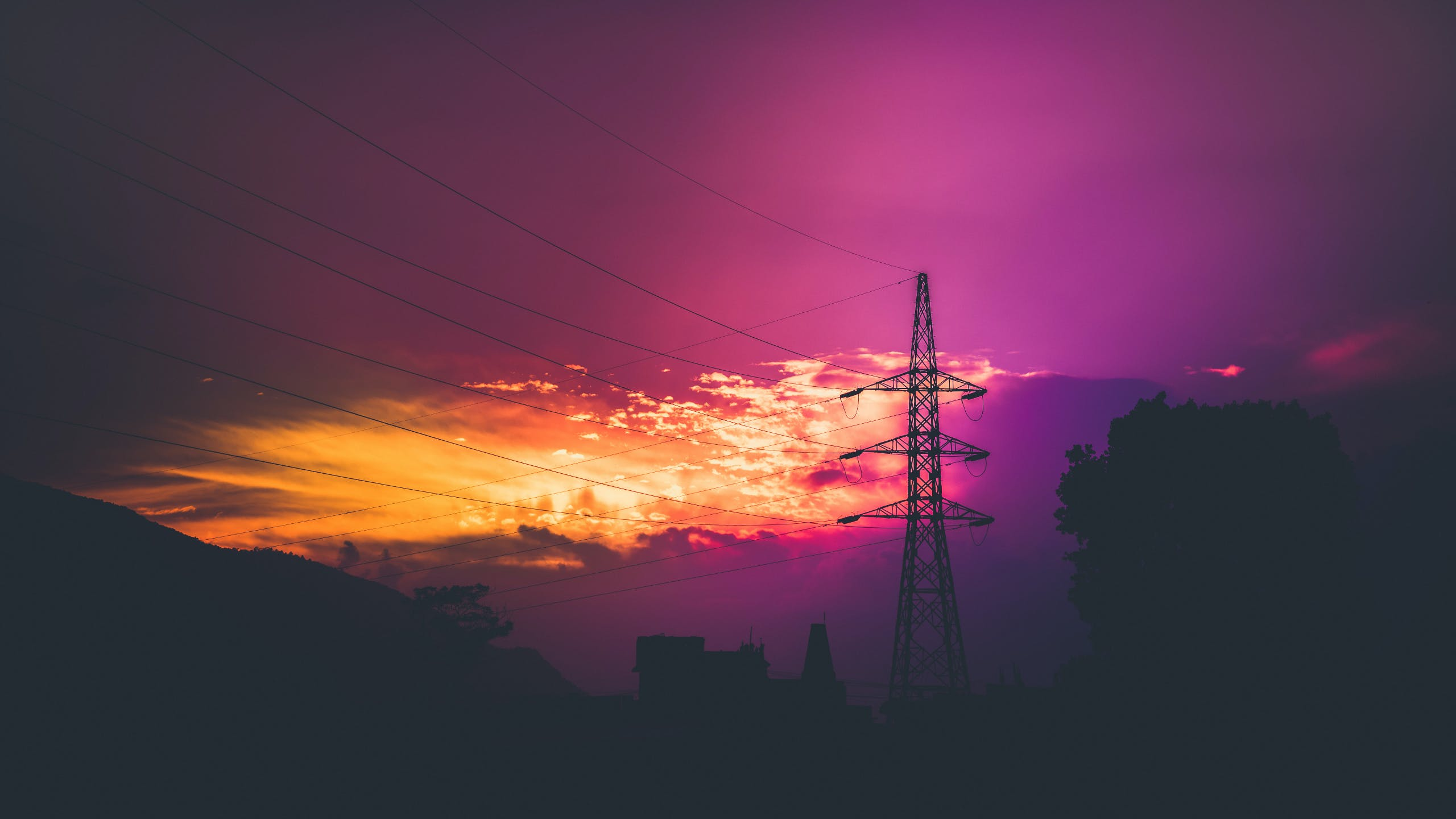 Electric Post during Sunset