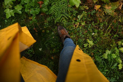 Crop person in bright raincoat near plants in garden