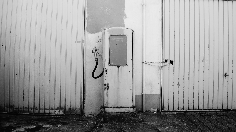 Free stock photo of abandoned, black and white, bw, gas