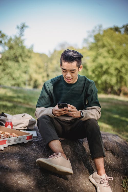 Smiling young ethnic man searching information in cellphone while sitting on stone in park with takeaway pizza