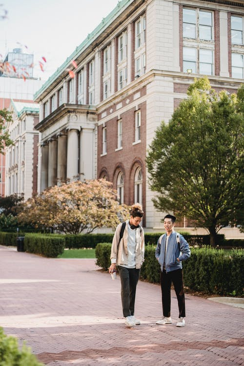 Full body content young male friends with backpacks strolling and chatting on paved sidewalk near modern brick building on sunny weather