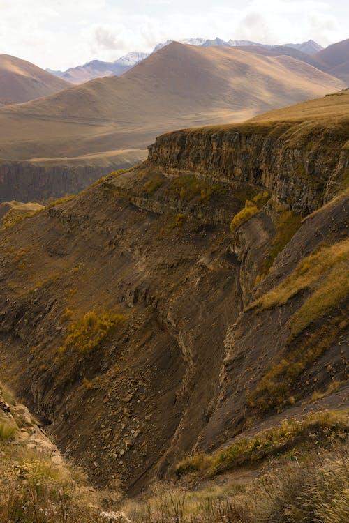 Mountain ridge behind rough grassy hills