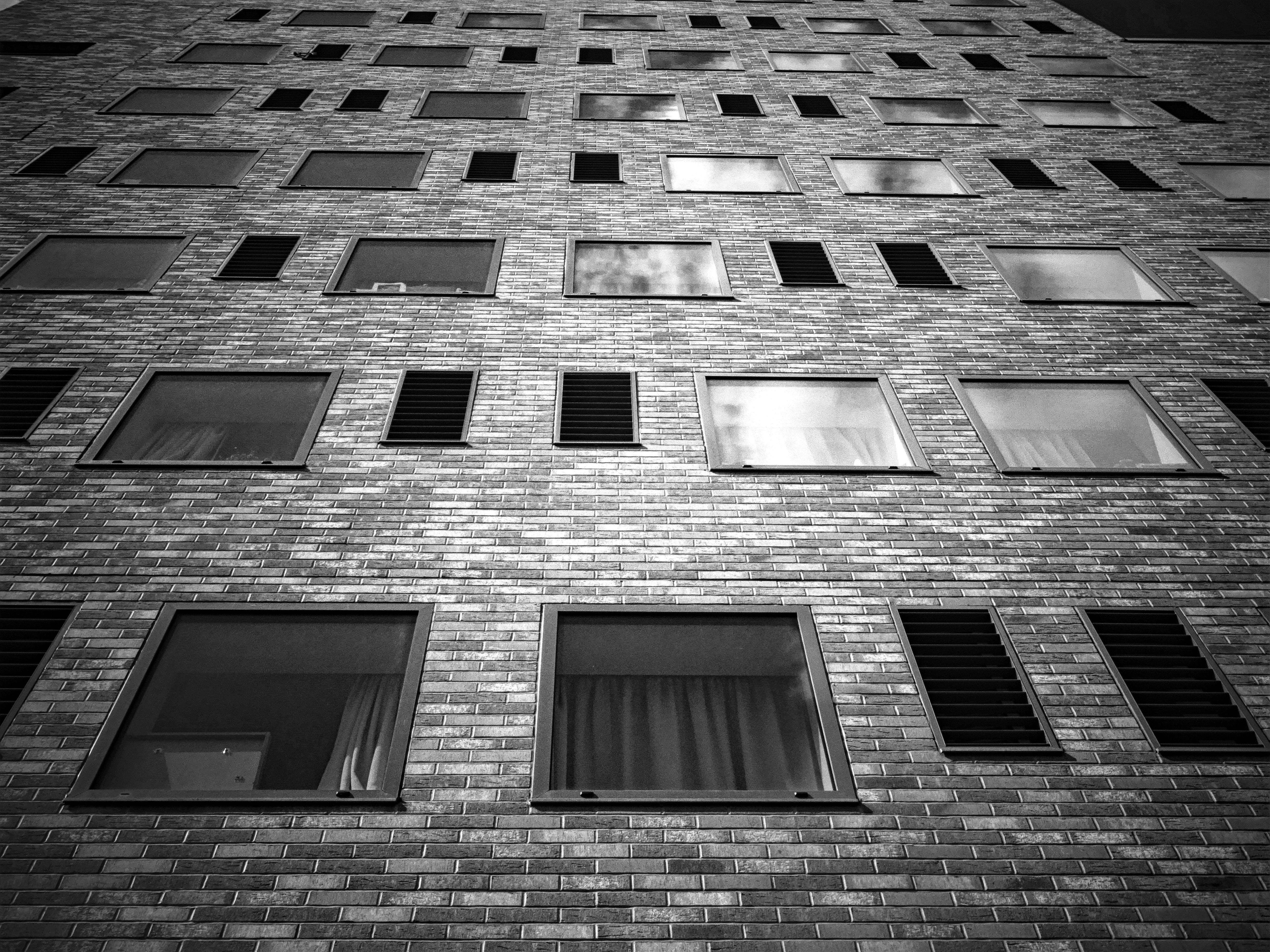 architecture, black and white, brick walls