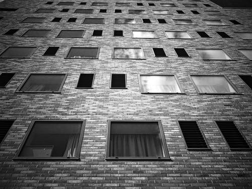 Low Angle View of Building on Grayscale Photography