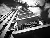 black-and-white, sky, building