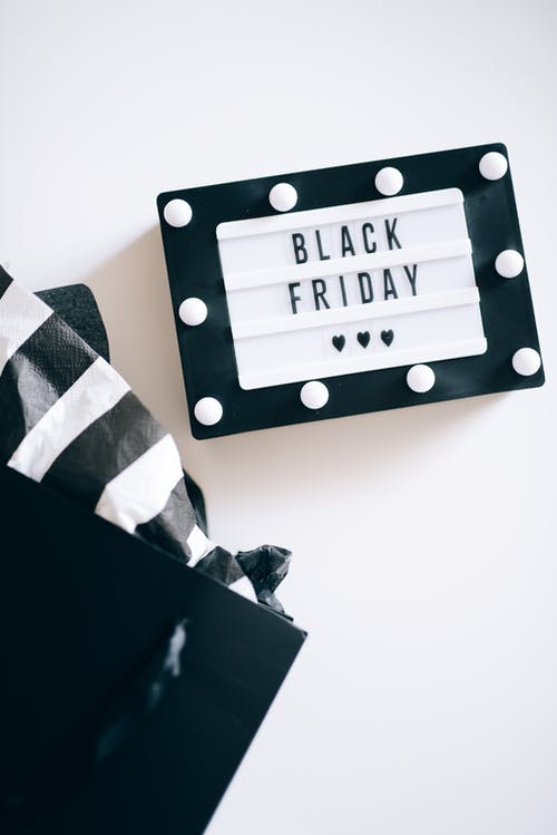 Black Friday Sign and Shopping Bag