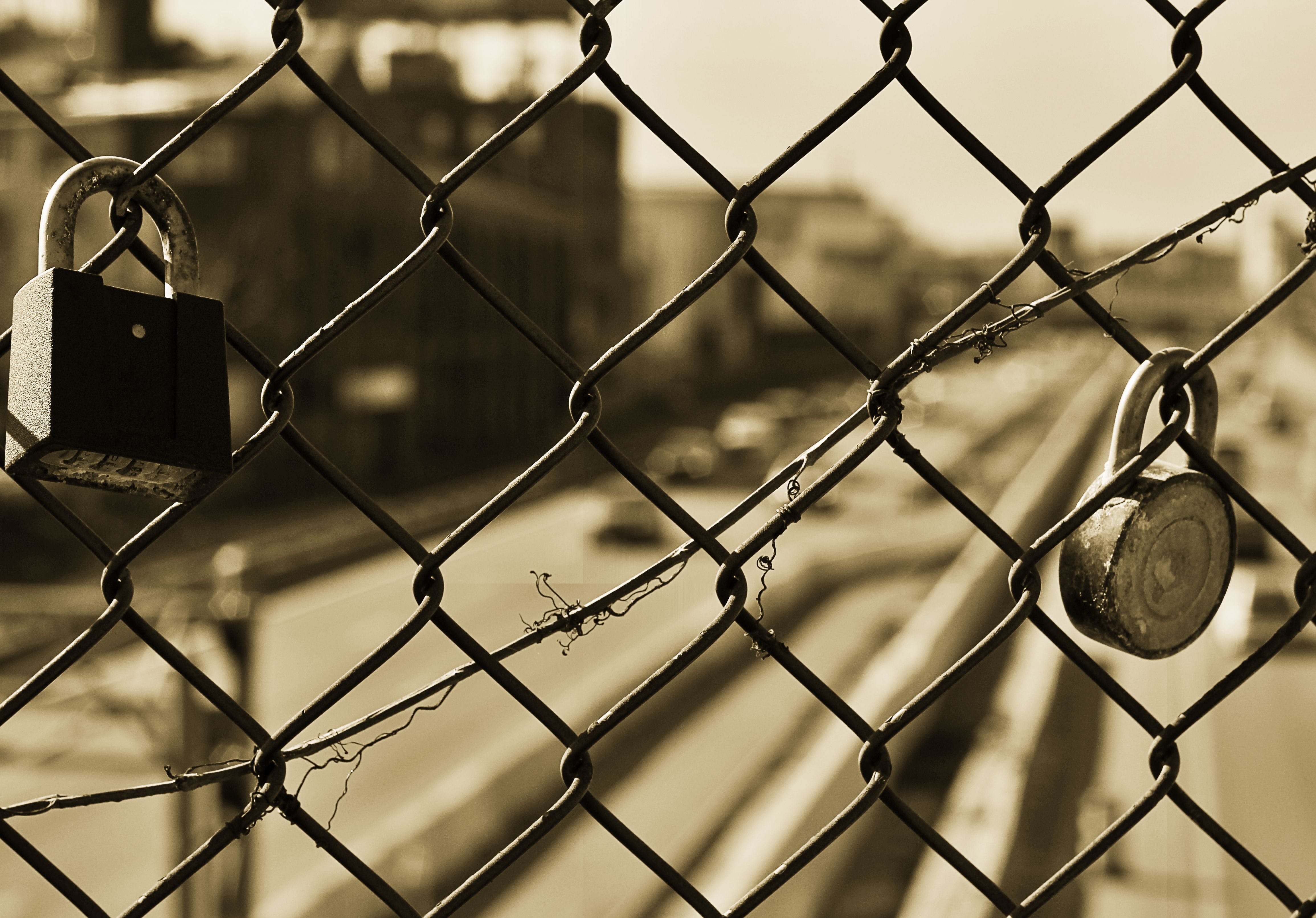 Two Black Padlocks on Grey Metal Wire Fence