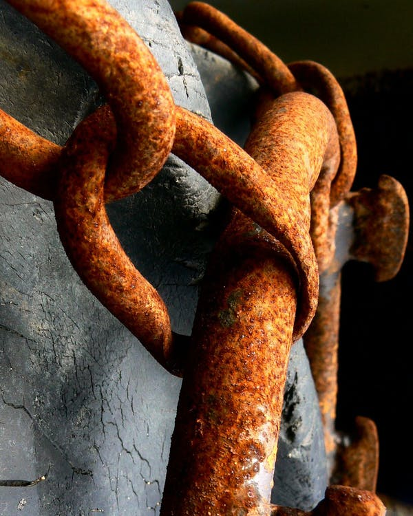 Free stock photo of chain, rusty, tire