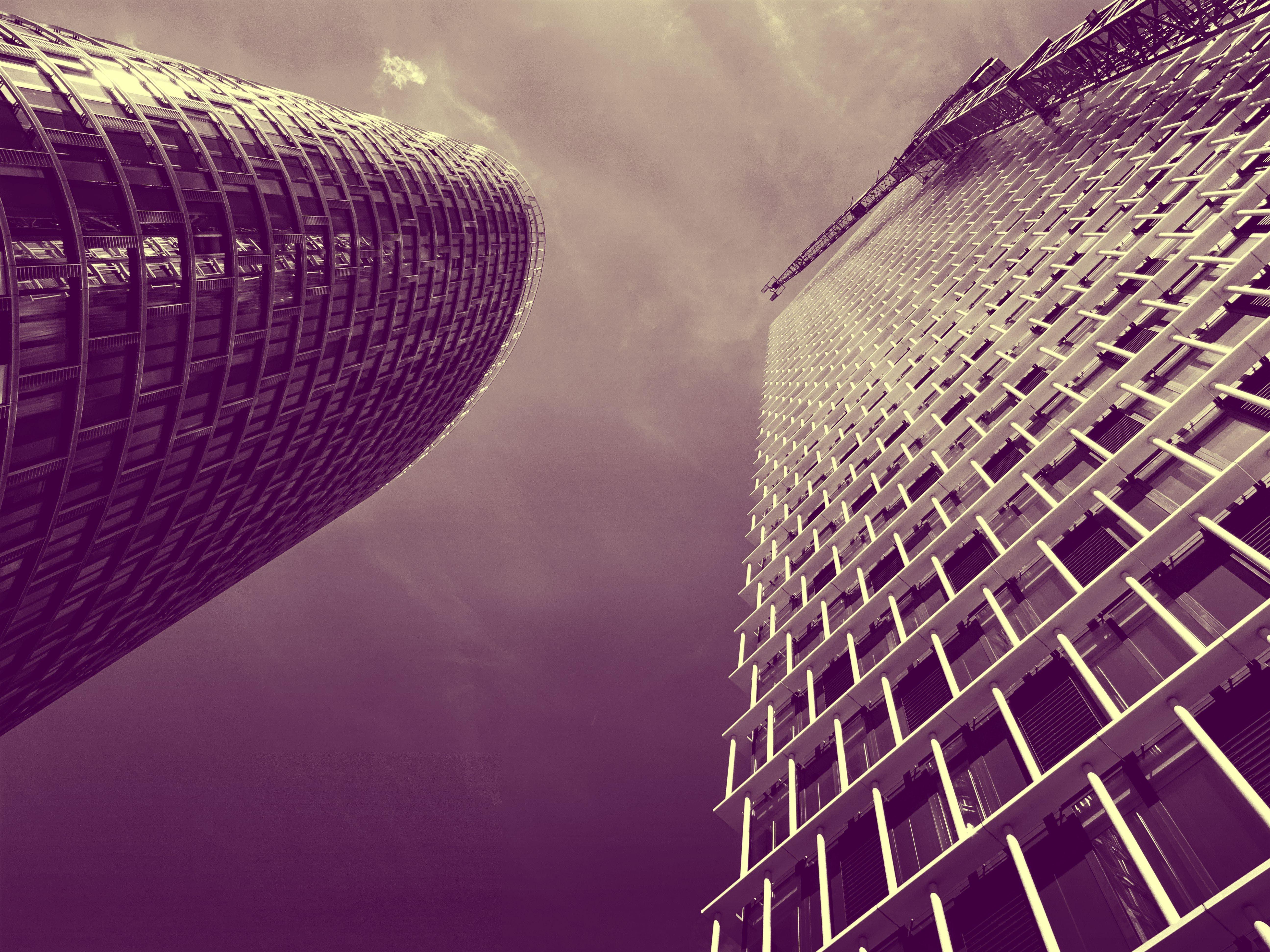 architectural design, buildings, clouds