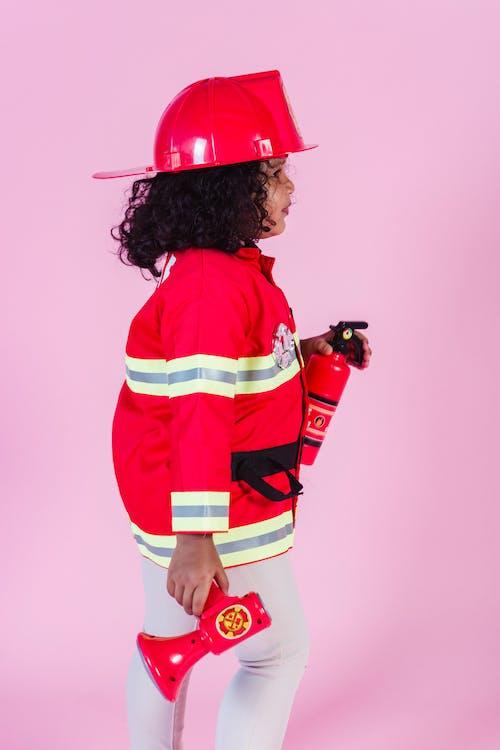 Little Kid Wearing Firefighter Costume
