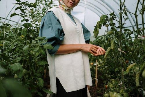 Woman in White Dress Standing Near Green Plants