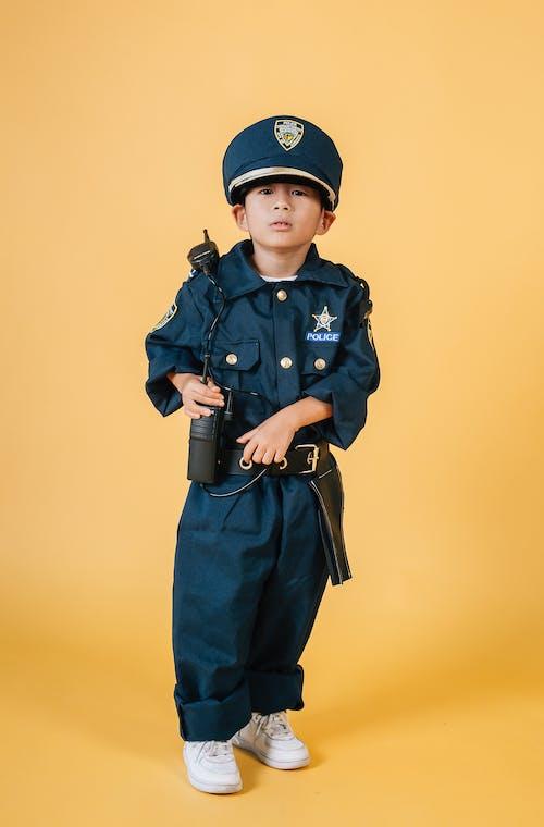 Man In Blauw Politie Uniform