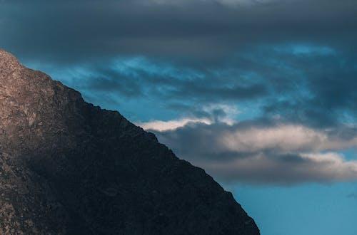 Rough mountain ridge in cloudy day
